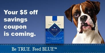 image relating to Blue Buffalo Dog Food Coupons Printable titled $5.00 Coupon Blue Buffalo Canine Food stuff Residing Abundant With