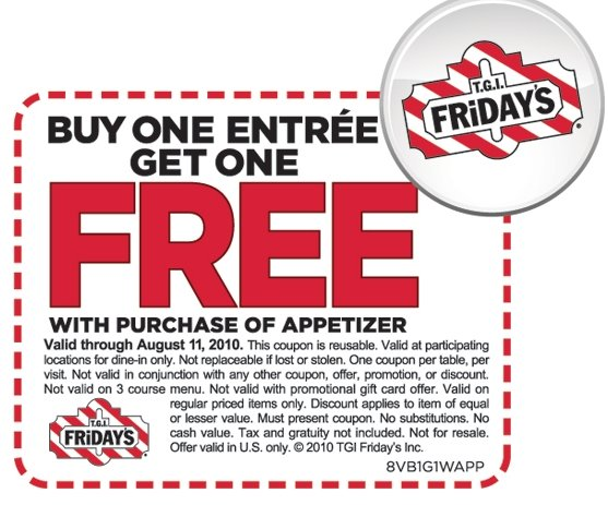 photo regarding Tgifridays Printable Coupons named TGI Fridays: BOGO No cost Entree Coupon Dwelling Loaded With