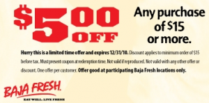 graphic relating to Baja Fresh Coupons Printable named Baja Fresh new: $5 Off $15 Coupon Residing Wealthy With Coupon codes
