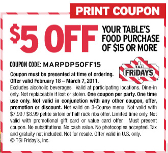picture relating to Tgifridays Printable Coupons identified as Refreshing $5 off $15 TGI Fridays Coupon Dwelling Loaded With Coupon codes