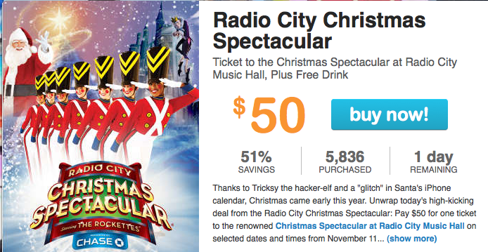 Buy Radio City Christmas Spectacular tickets and save up to 20% over leading ticket websites. BargainSeatsOnline offers a huge selection of cheap Radio City Christmas Spectacular tickets and discount Radio City Christmas Spectacular tickets.