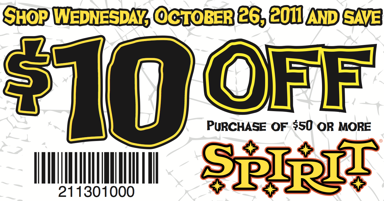 picture relating to Spirit Halloween Coupon Printable known as Spirit Halloween Coupon: $10 off $50 Residing Prosperous With
