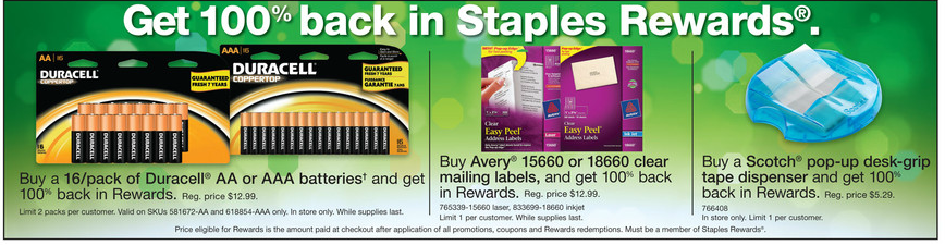 staples free duracell avery labels scotch tape living rich