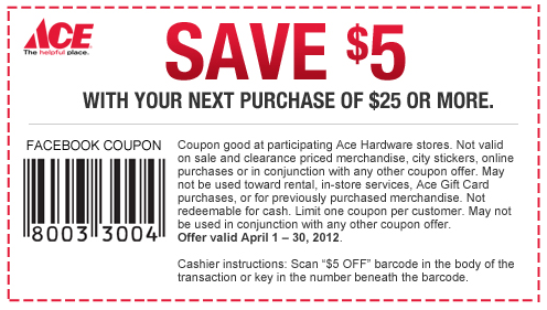 graphic regarding Ace Hardware Printable Coupons known as Ace Components Coupon: $5 off $25 Get Residing Prosperous With