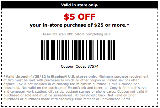 Staples coupon code $5 off