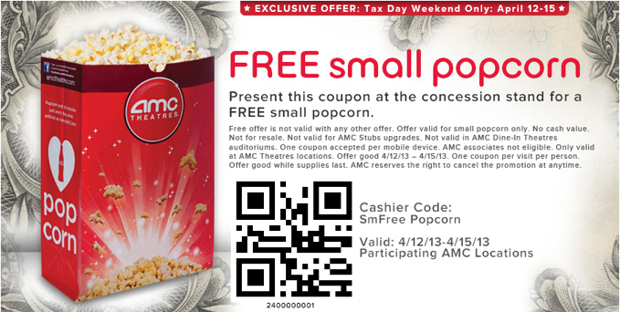 picture about Amc Printable Coupons named AMC Coupon: Absolutely free Little Popcorn throughout 4/15 Dwelling Abundant