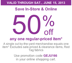 joann fabrics coupon 50 off any single item living rich with coupons. Black Bedroom Furniture Sets. Home Design Ideas