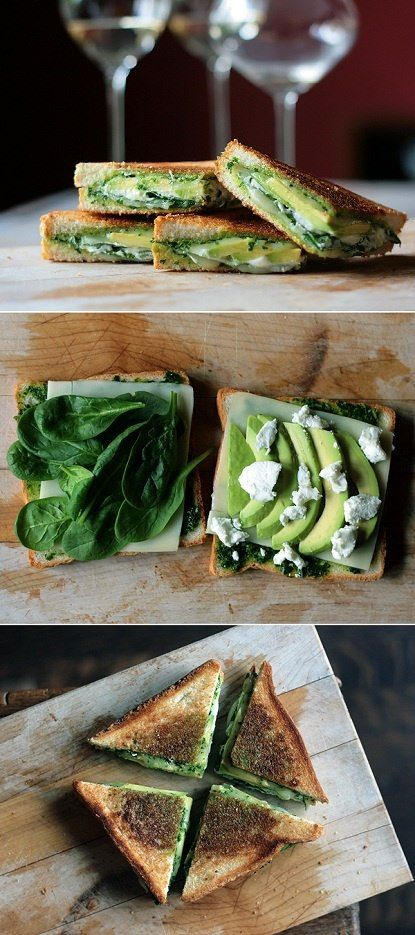 Pesto, Mozzarella, Baby Spinach, Avocado Grilled Cheese Sandwich