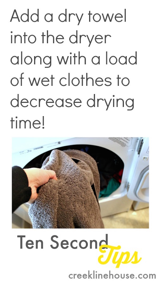 Dry towel to the dryer for faster drying