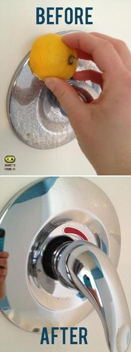 Remove hard water stains with a lemon