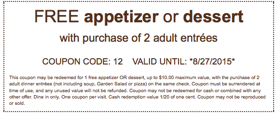 Free Appetizer Or Dessert With Purchase Of 2 Entrees At Olive Gardenliving Rich With Coupons