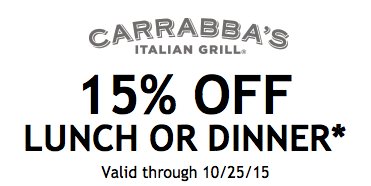 15% off Entire Meal at Carrabba'sLiving Rich With Coupons®