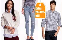 Old Navy EXTRA 25-40 off Your Purchase! {Online Only}