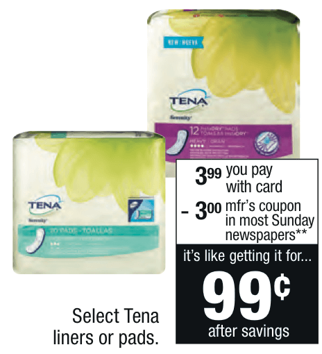 Tena Pads Only $0 99 at CVS {10/25}Living Rich With Coupons®