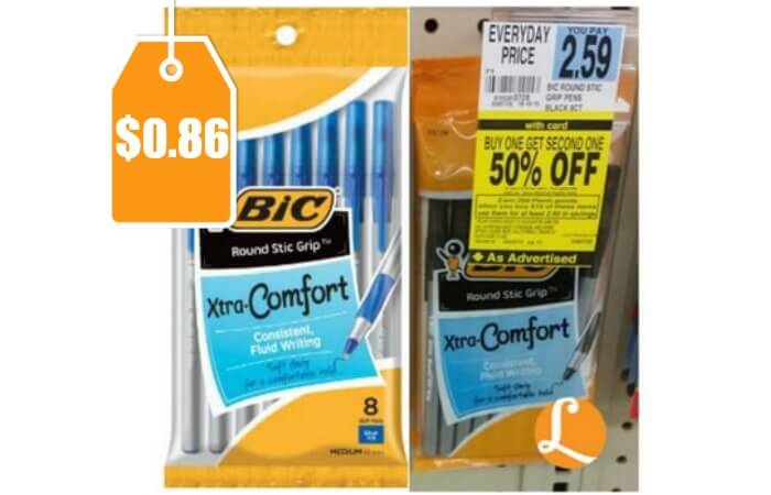 Bic Round Stic Grip Pens Only 086 At Rite Aid