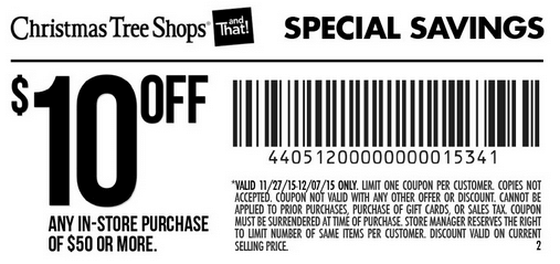 photo relating to Christmas Tree Shoppe Printable Coupons named Xmas Tree Suppliers Coupon - $10 off $50 PurchaseLiving