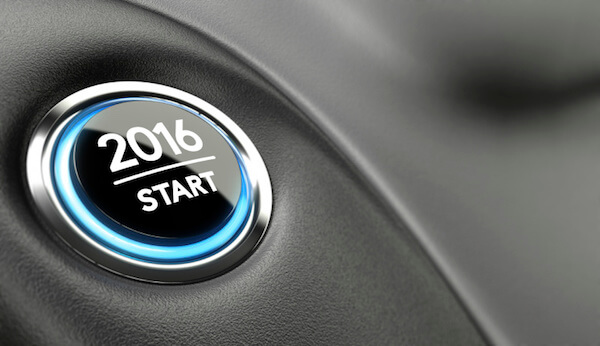 2016 push button. Concept of new year, two thousand sixteen.