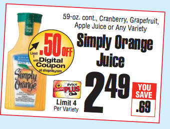 new 1 1 simply orange juice coupon at shoprite 1 17 more great deals living rich. Black Bedroom Furniture Sets. Home Design Ideas