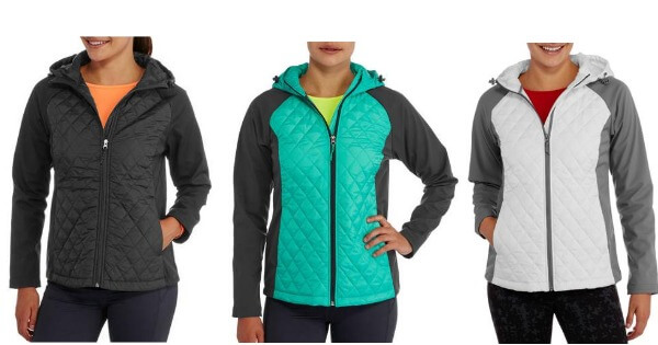 FREETECH WOMEN/'S LADIES QUILTED JACKET WITH SOFTSHELL SLEEVES HOODED WITH HOOD