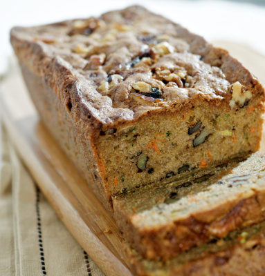 Zucchini bread with carrots and walnuts