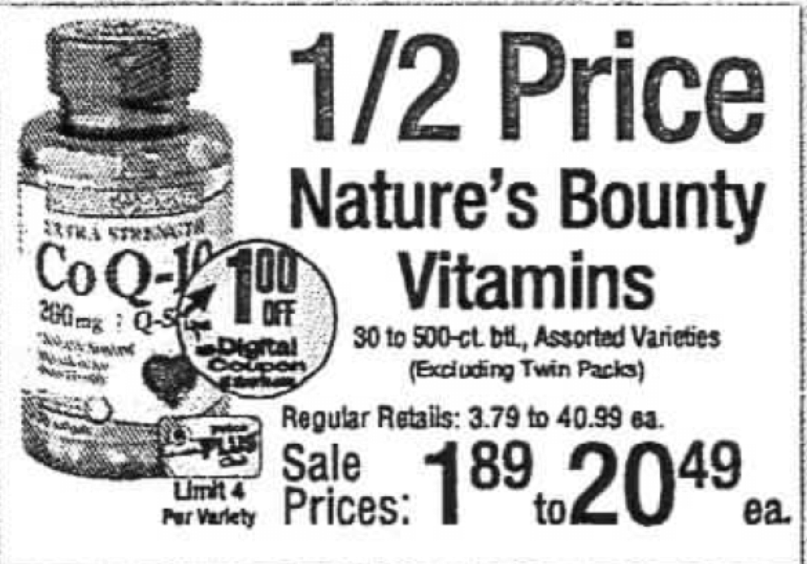printable coupons for nature bounty vitamins / fandango coupons visa