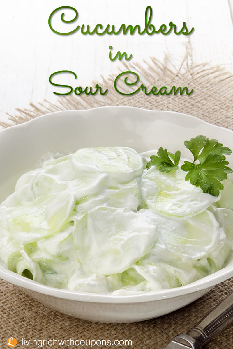 Cucumbers in Sour Cream Recipe -Living Rich With Coupons®