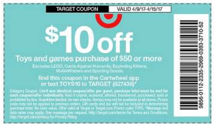 New Target Mobile Coupon Save 10 On A 50 Toys Games Purchase Living Rich With Coupons
