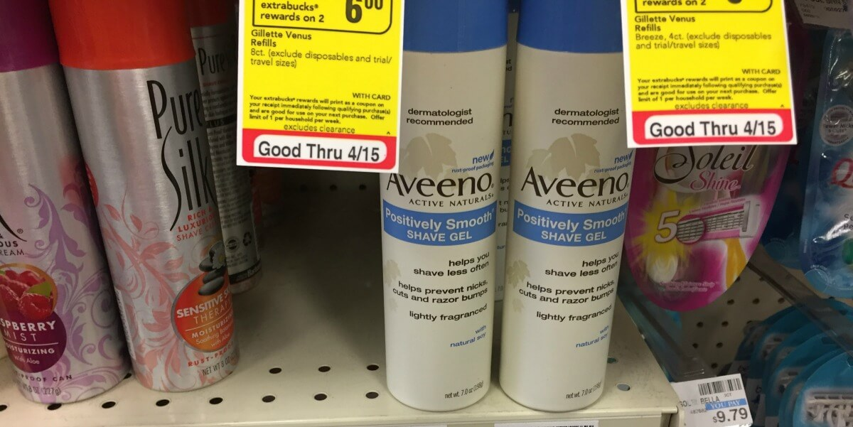 Aveeno Positively Smooth Shave Gel as Low as FREE at CVS!