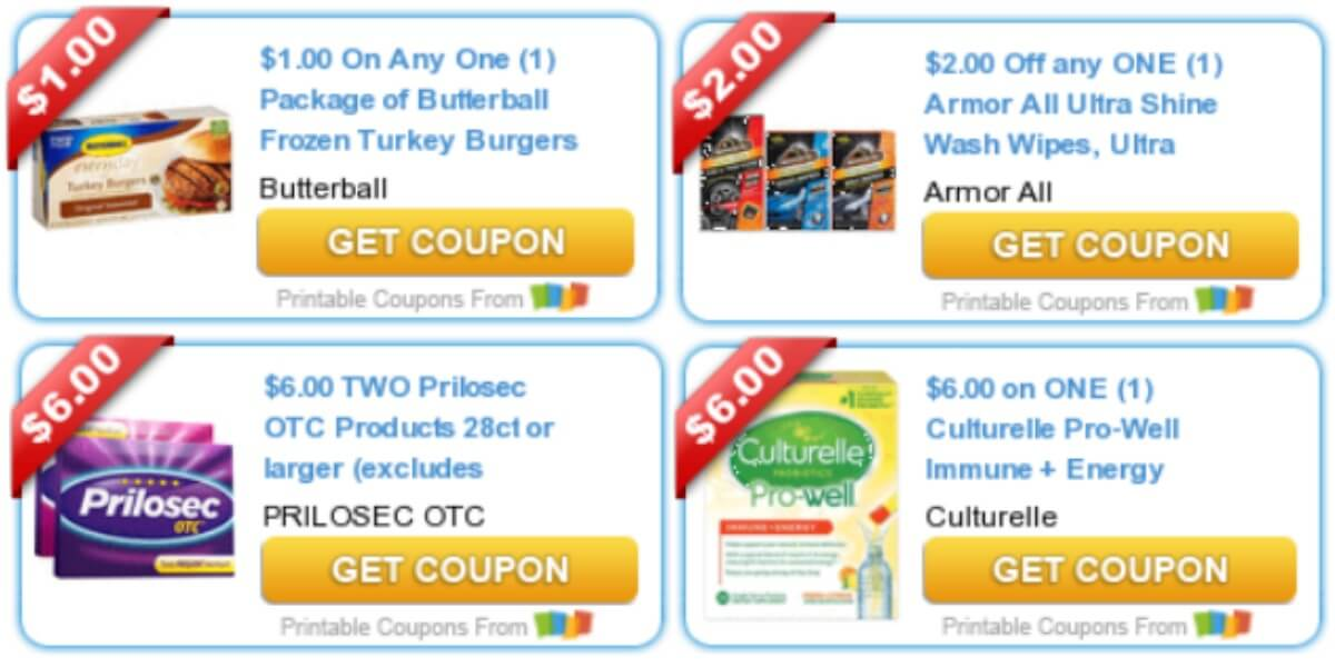 image about Prilosec Printable Coupon called Todays Best Contemporary Discount codes - Cost savings versus Butterball, Armor All