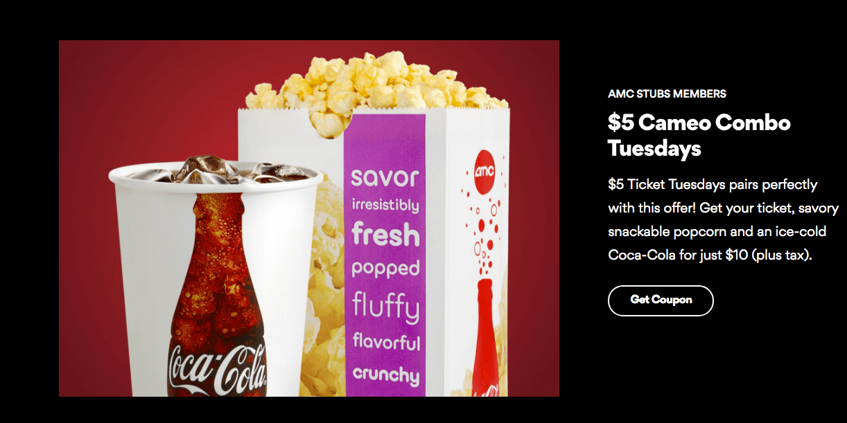 picture regarding Amc Printable Tickets named AMC Video Tickets upon Tuesdays $5 (Legitimate at Collaborating