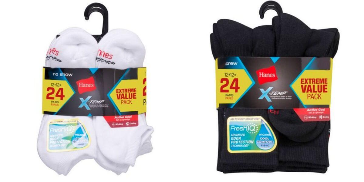 Hanes Men/'s FreshIQ X-Temp Active Cool Ankle Socks 4-Pack