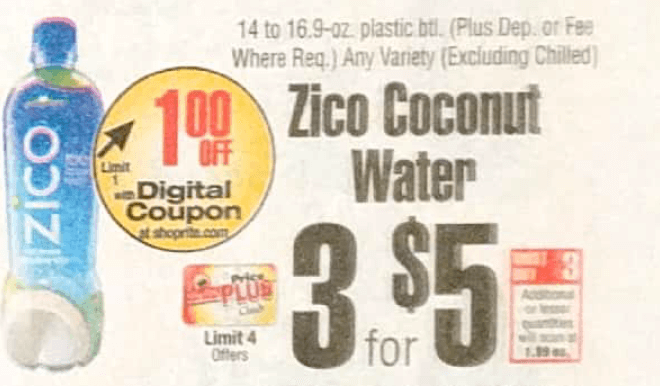 Zico Coconut Water Just 0 33 At Shoprite 4 22 Ibotta Rebate Living Rich With Coupons