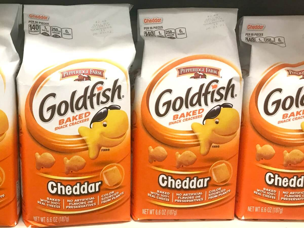 picture regarding Goldfish Printable Coupons called 4 Times Simply! Goldfish Crackers Only $1 at Acme! No Discount coupons