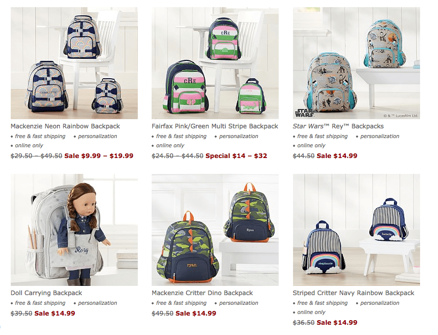 photo relating to Pottery Barn Kids Printable Coupons named Pottery Barn Children Up towards 60% Off Choose Backpacks, Baggage and