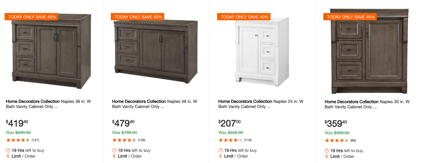 Home Depot 40 Off Select Home Decorators Collection Vanities Living Rich With Coupons