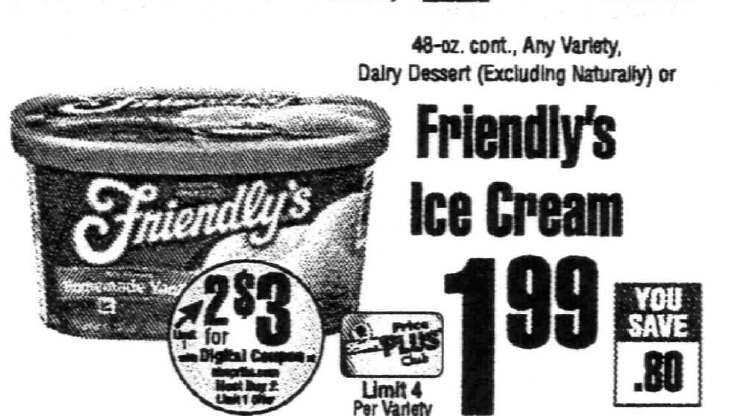 picture about Friendly's Ice Cream Coupons Printable Grocery named Friendlys Ice Product Basically $1.00 at ShopRite! 7/1Dwelling