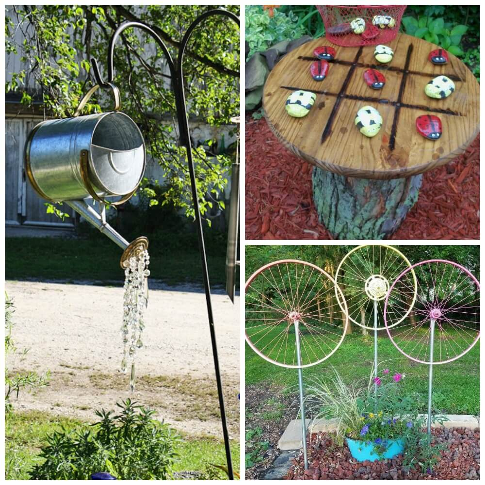 15 Diy Garden Decor Ideas Watering Can Spin Wheelliving Rich