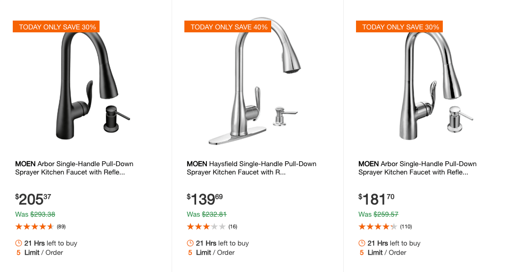 Home Depot: Up to 40% off Select MOEN Kitchen FaucetsLiving ...