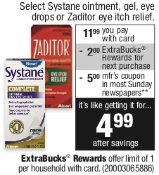 graphic about Zaditor Coupon Printable named Systane Gel Eye Drops as Lower as $1.99 at CVS! Reg. $18.29