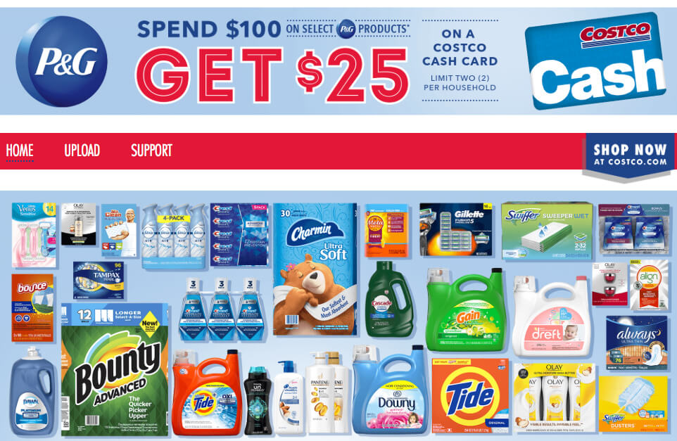 Costco Spend 100 On P G Products Get 25 Costco Cash Card Living Rich With Coupons