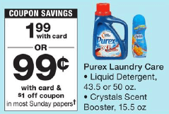 image about Purex Coupons Printable named $2 inside Fresh new Purex Laundry Discount codes - $0.99 at Walgreens, CVS