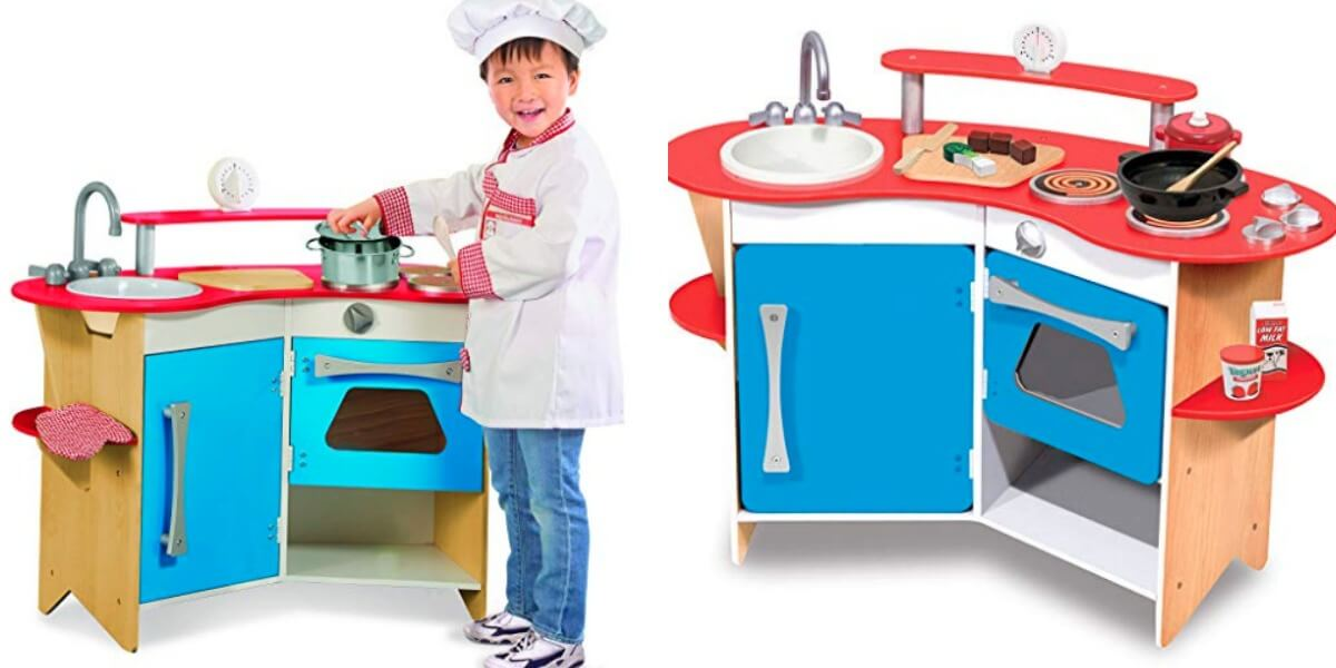 Melissa & Doug Cook\'s Corner Wooden Pretend Play Toy Kitchen ...