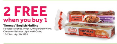 Thomas' English Muffins, Assorted Varieties, 12 or 13 oz, BOGO Filed Under: