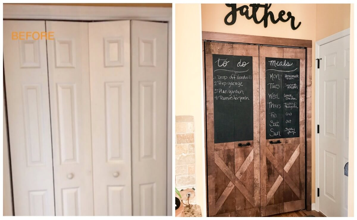 Diy Barn Doors Turn White Bi Fold Doors Into Barn Doors For Under 90 Living Rich With Coupons