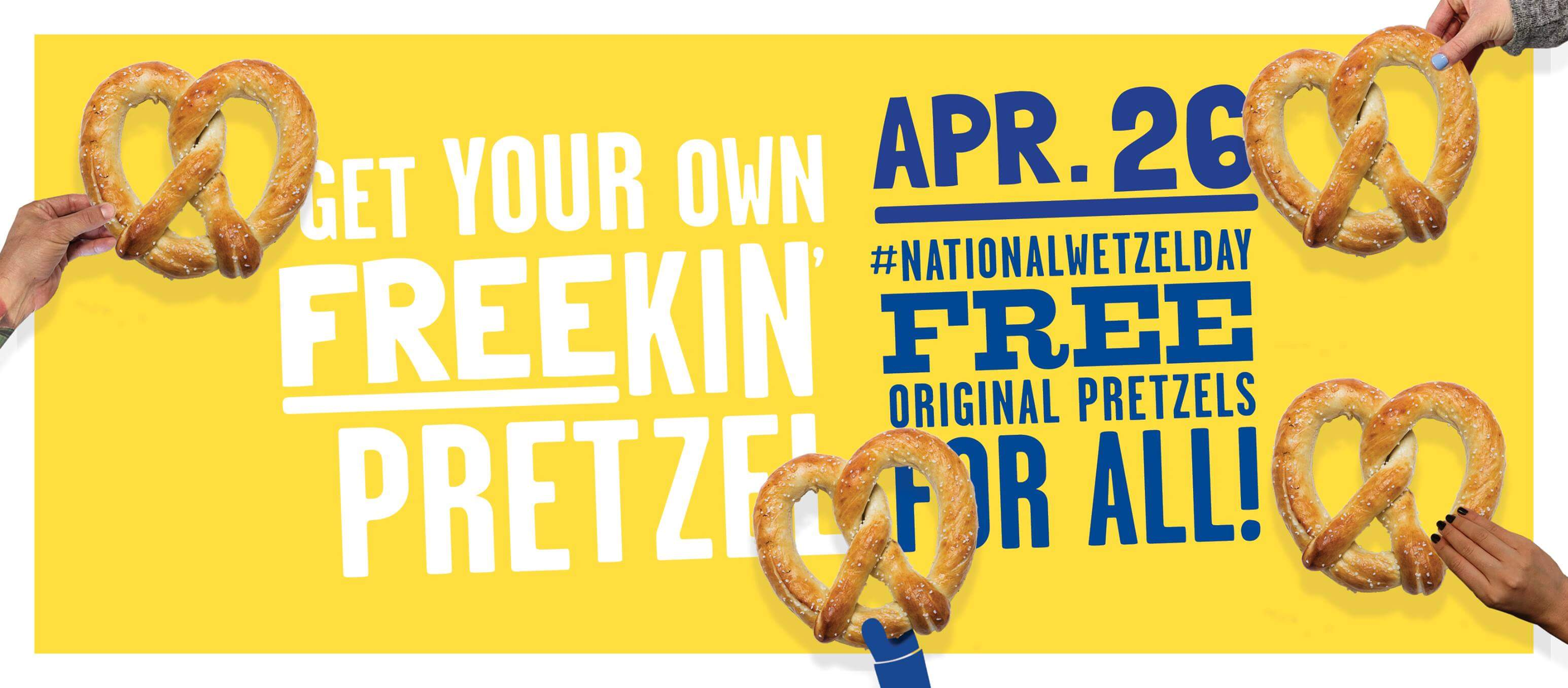 image relating to Philly Pretzel Factory Coupons Printable titled Nationwide Pretzel Working day Freebies 2019 4/26 Residing Wealthy With