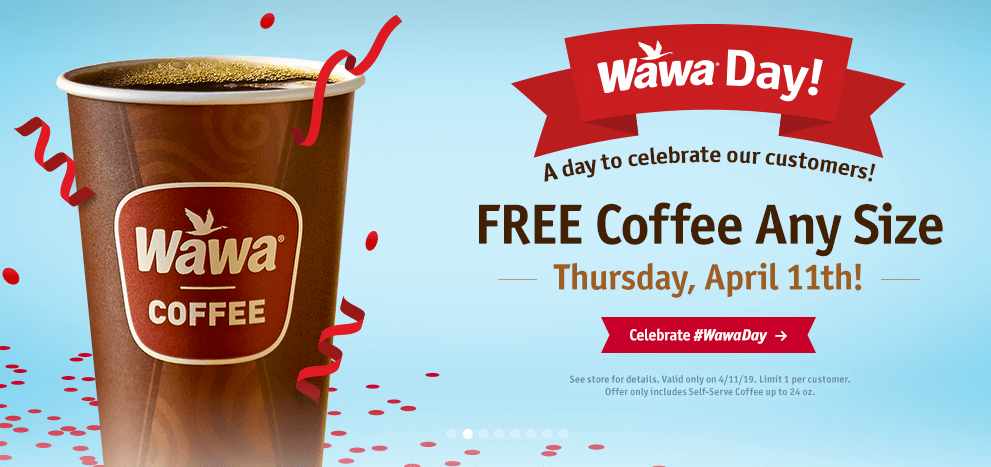 picture regarding Wawa Coupons Printable known as Free of charge Espresso at Wawa upon 4/11 for Wawa Working day! Dwelling Prosperous With