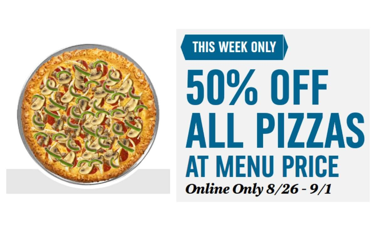 50 Off Pizzas This Week Only At Domino S Living Rich With Coupons