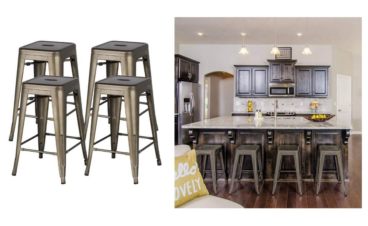 huge selection of 5234c 728d5 Hot Deal on Yaheetech 24'' Metal Bar Stools Counter Height ...