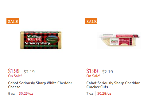 Cabot Cracler Cuts Shreds And Chunk Cheese Just 0 99 At Shoprite Living Rich With Coupons