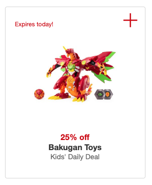 Target Kids Daily Deal Circle Offer Save 25 On Bakugan Toys Today Only Living Rich With Coupons